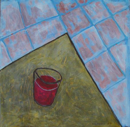 Saftglas, 100 x 100 , Acryl auf Textil, 2007