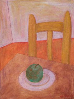 Grüner Apfel, 70 x 95 , Acryl auf Textil, 2007