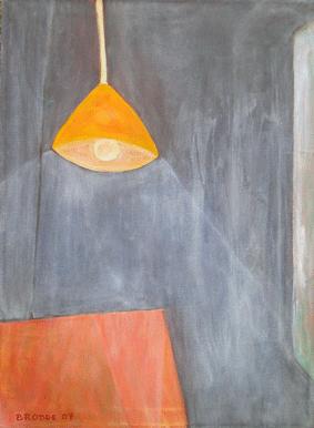 Hängelampe Tisch, 70 x 95 , Acryl auf Textil, 2007
