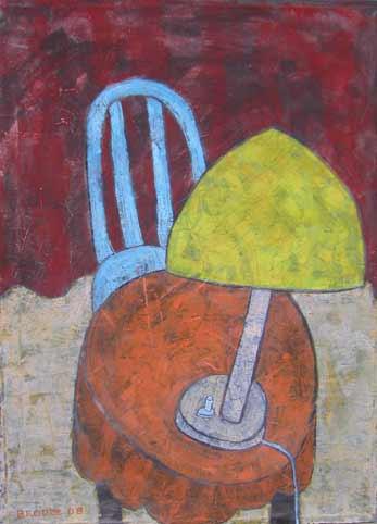 Tischlampe runder Tisch, 95 x 70 , Acryl auf Textil, 2008
