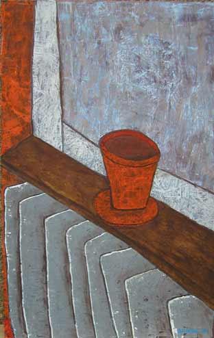 Fensterbank Blumentopf, 107 x 68 , Acryl auf Hartfaser, 2008
