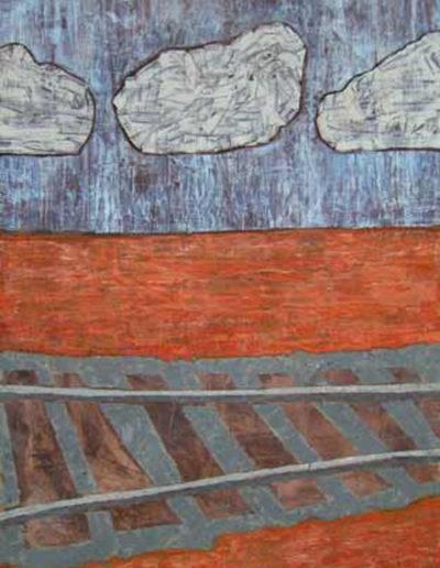 Gleise Wolken, 95 x 70 , Acryl auf Textil, 2008