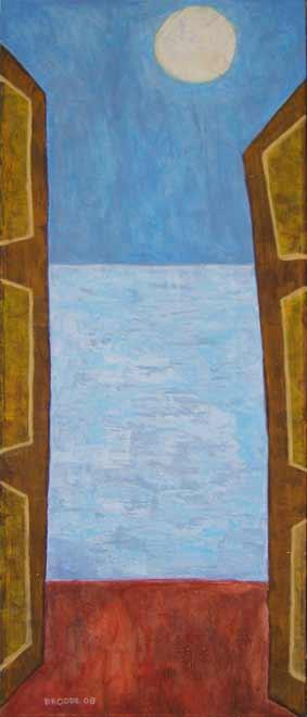 Ausblick Vollmond, 160 x 68 , Acryl auf Textil, 2008