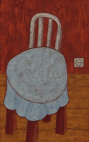 Blaue Tischdecke Steckdose, 70 x 90 , Acryl auf Leinwand, 2011