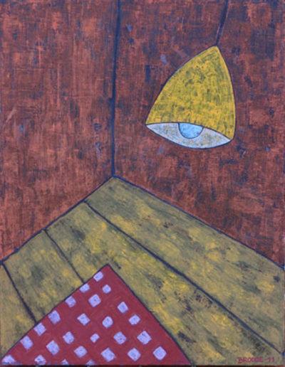 Hängelampe Teppich rot-weiß, 70 x 90 , Acryl auf Leinwand, 2011
