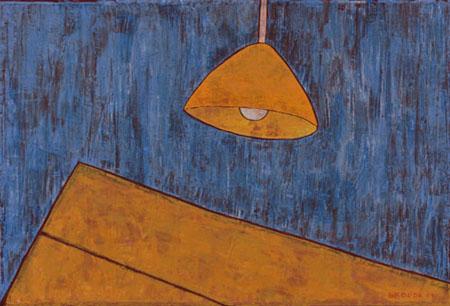 """Hängelampe gelber Tisch, 70 x 90 , Acryl auf Textil, 2011"""""""