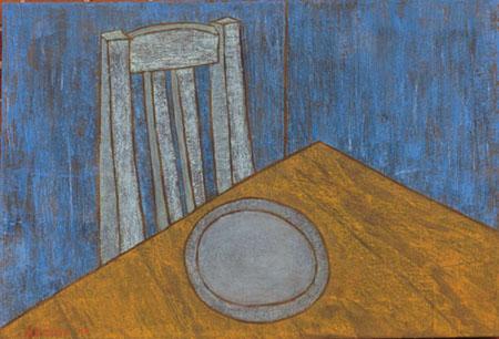Tisch Teller Stuhl, 70 x 100 , Acryl auf Textil, 2011