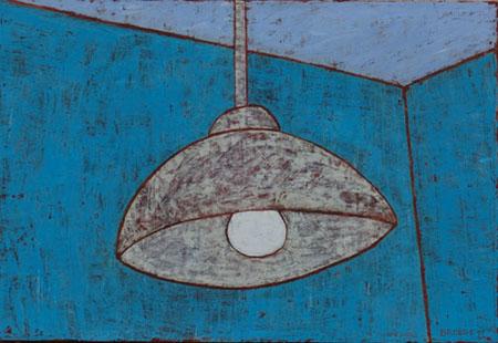 Hängelampe türkise Wand, 70 x 100 , Acryl auf Textil, 2011