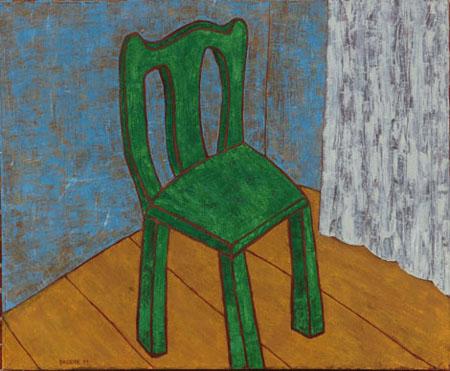 Stuhl grün, 100 x 120 , Acryl auf Leinwand, 2011