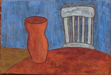 Vase weißer Stuhl, 70 x 100 , Acryl auf Textil, 2011