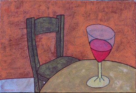 Weinglas, 70 x 100 , Acryl auf Textil, 2011