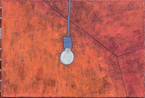 Glühbirne, 70 x 100 , Acryl auf Textil, 2011