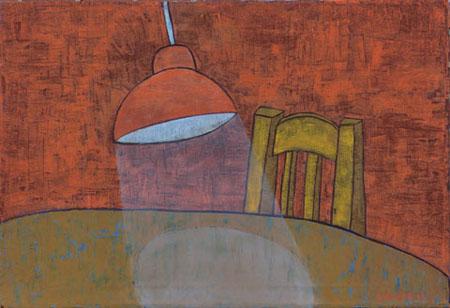 Hängelampe Lichtschein, 70 x 100 , Acryl auf Textil, 2011