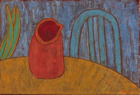 Krug Stuhl türkis, 70 x 100 , Acryl auf Textil, 2011