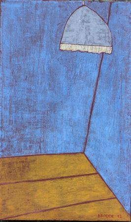 Hängelampe, grauer Schirm, 60 x 80 , Acryl auf Textil, 2012