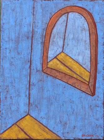Spiegel, halbrund, 60 x 80 , Acryl auf Textil, 2012