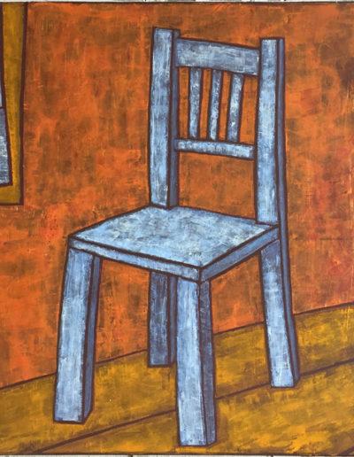 Blauer Stuhl und Meer, 70 x 100 , Acryl auf Leiwand, 2017