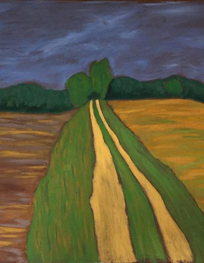 Landschaft Rechenzin, 70 x 100 , Acryl auf Leinwand, 2017