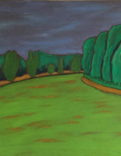 Landschaft Tarnitz, 60 x 85 , Acryl auf Leiwand, 2017