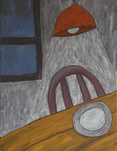 Hängelampe weißer Teller, 70 x 100 , Acryl auf Leinwand, 2017