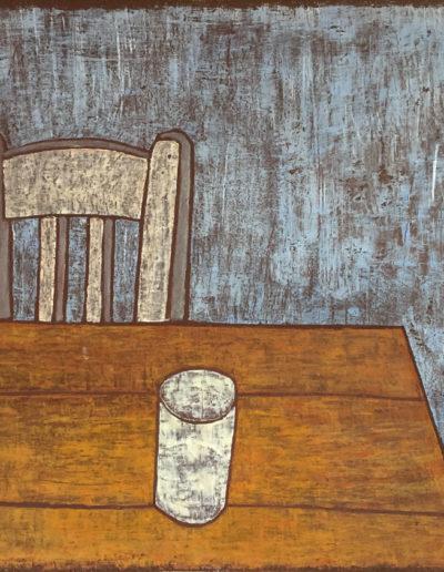 Weißer Stuhl, weißer Becher, 70 x 88 , Acryl auf Leinwand, 2014