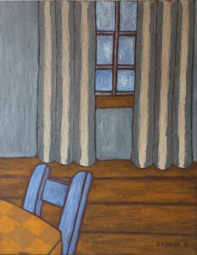 Blauer Stuhl und Vorhang, 70 x 88 , Acryl auf Leinwand, 2014