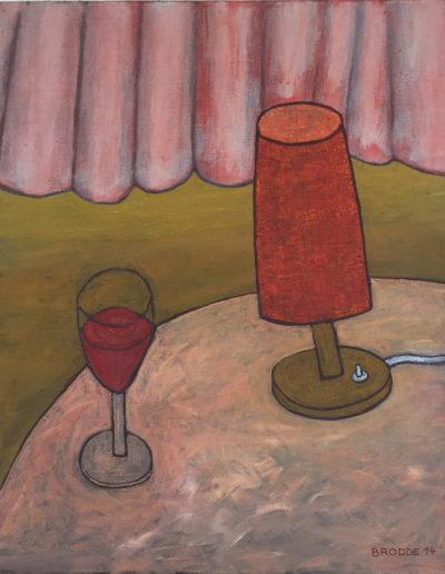 Tischlampe Weinglas, 70 x 87 , Acryl auf Leinwand, 2014