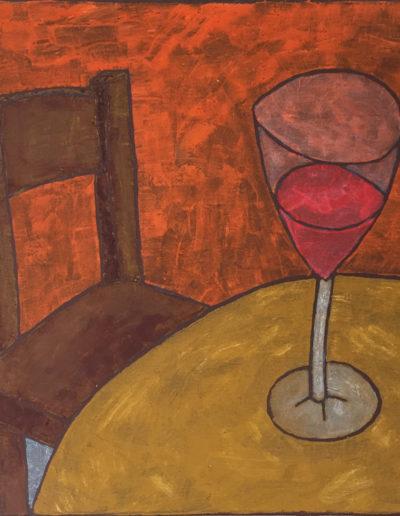 Stuhl und Weinglas, 50 x 70 , Acryl auf Leinwand, 2016