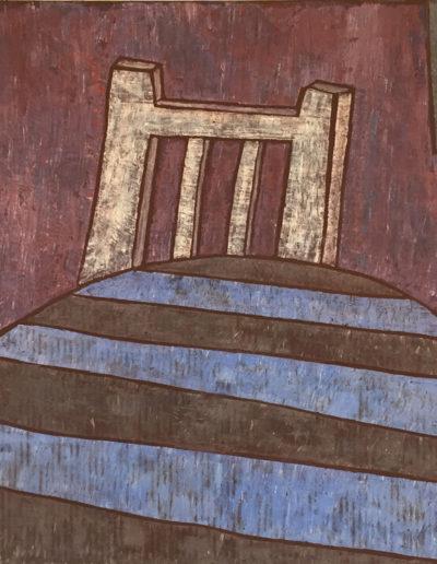 Weißer Stuhl gestreifte Tischdecke, 70 x 100 , Acryl auf Leinwand, 2017