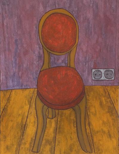 Rotes Polster Doppelsteckdose, 70 x 100 , Acryl auf Leinwand, 2017