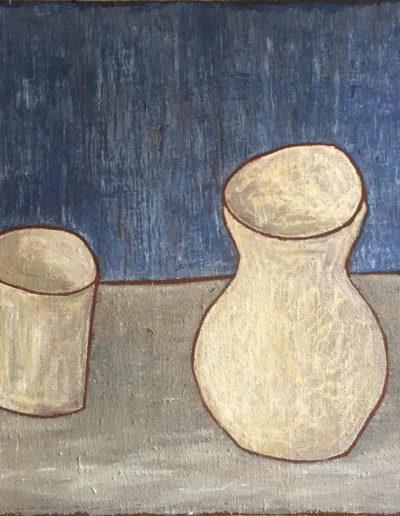 """Weißer Krug und Becher, 60 x 88 , Acryl auf Leinwand, 2014"""""""
